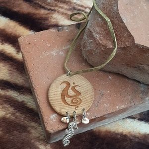 Seahorse leather necklace